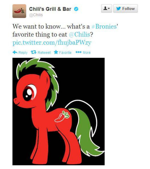 Chili's Tweet about Bronies - My Little Ponies - MLP Bronies